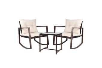 Gardeon Outdoor Rocking Chair and Table Set (Brown)