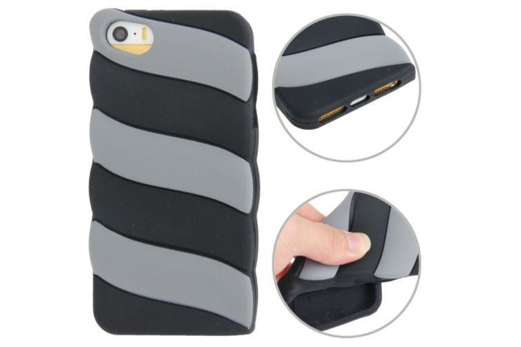 For iPhone SE 5S 5 Case Black Grey Stripes Grippy Durable Shielding Cover