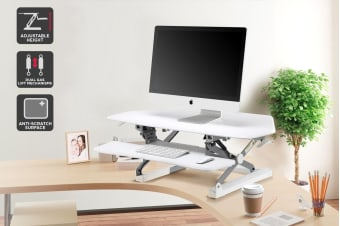 Ergolux Duopro Corner Height Adjustable Sit Stand Desk Riser (White)