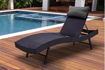 Shangri-La Wicker Sun Lounger (Black with Grey Pillow)