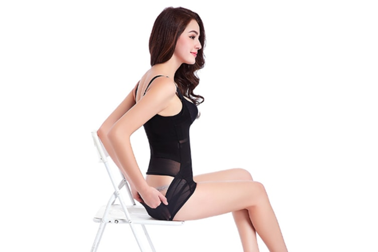 Ultra-Thin And Seamless Wrap Around And Cut-Out Design Body Sculpting Suit Black Xl
