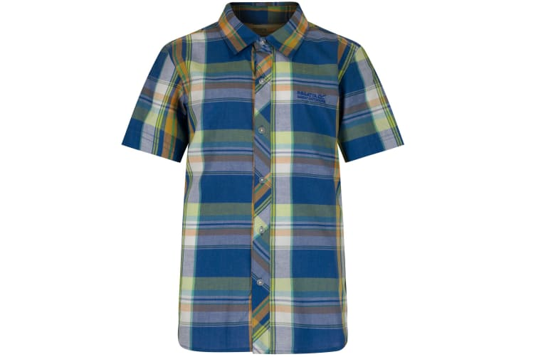 Regatta Great Outdoors Childrens Boys Crayford Short Sleeve Casual Shirt (Oxford Blue) (9-10 Years)