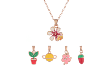Children Flowers And Plants Multiple Replaceable Cartoon Hanging Necklace Set Red
