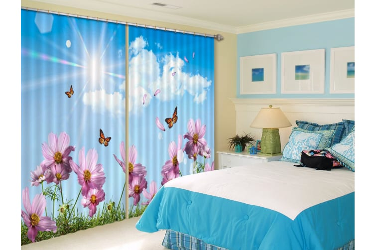 3D Flying Flowers Butterflies 285 Curtains Drapes, 203cmx160cm(WxH) 80''x 63''