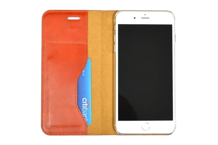 For iPhone 8 PLUS 7 PLUS Wallet Case Fashion Oilwax Genuine Leather Light Brown