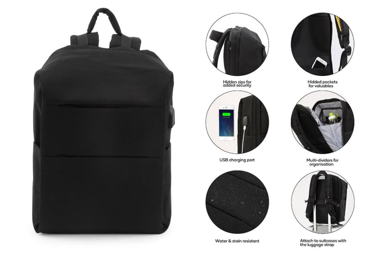 Ultimate Anti-Theft Defender Backpack with USB Port (Black)