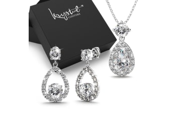 Boxed Bloom Clear Created Diamonds Necklace and Earrings set