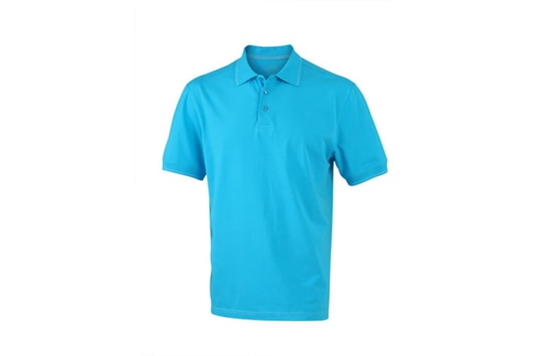 James and Nicholson Mens Elastic Polo (Aqua Blue/White) (XXL)