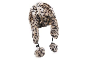 Ladies/Womens Leopard Print Faux Fur Thermal Trapper/Ski Hat With Pom Poms (Brown/Black Leopard Print)