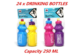24 x 250ml Kids Sports Water Bottle Assorted Color Portable Plastic Lightweight