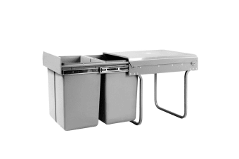 Set of 2 20L Twin Pull Out Bin Kitchen Double Dual Slide Garbage Rubbish Waste Basket