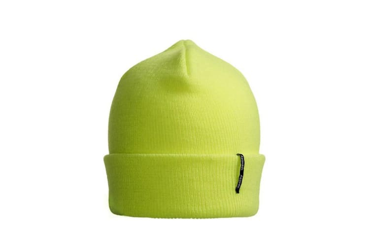 ID Unisex Classic Knitted Acrylic Beanie Hat (Fluorescent yellow) (One size)