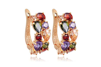 Women's Classic 18K Gold Plated Colorful CZ Stone Stud Earrings ROSE GOLD