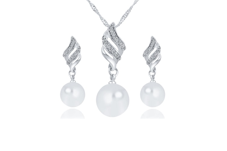 Women Imitation Pearl Spiral Rhinestone Wedding Bridal Necklace Earrings Jewelry Set Silver