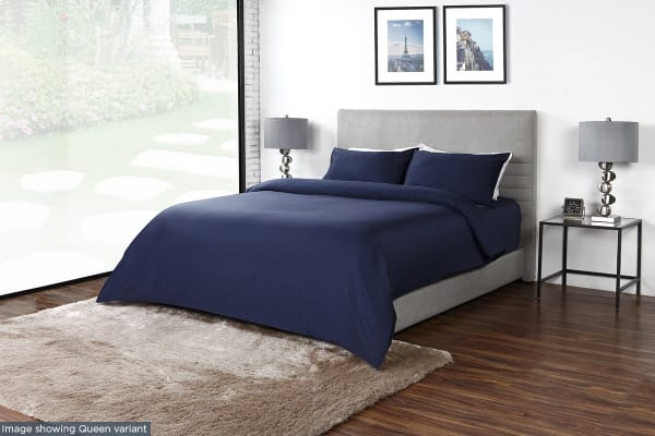Ovela 600TC 70% Bamboo / 30% Cotton blend Quilt Cover Set (Single, Indigo)