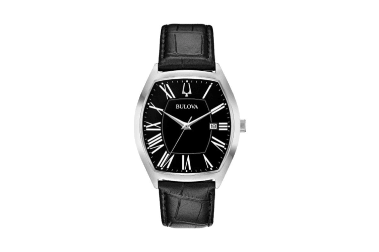 Bulova Men's 37 x 44mm Analog Watch with Date & Embossed Leather Strap - Black/Stainless Steel (96B290)