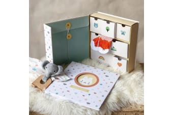 Baby Keepsake Memory Box With Drawers & Pocket