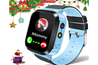 Kids Smart Watches for Girls Boys GPS Tracker Smartwatch Phone 2 Way Call Voice Messages SOS Game Camera Flashlight Alarm Clock-Blue