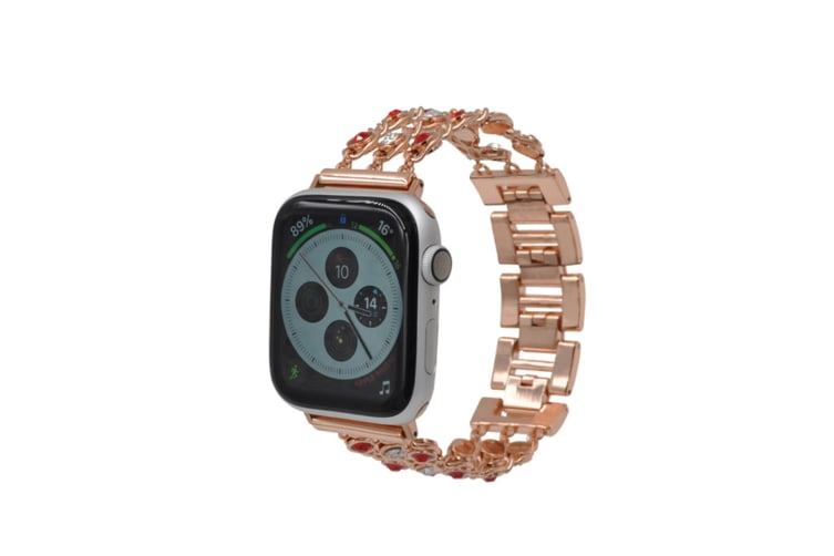 Jewelry Bands Compatible Bling Stainless Steel Apple Watch Band Rose Gold+White 38Mm