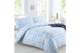 Dreamaker Shibori Printed quilt cover set Queen Bed Rain