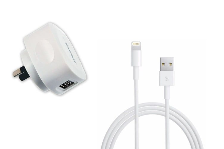 Sansai 2.1A AC Charger with 2 USB Outlets & Lightening USB Cable (IPH-0911K)