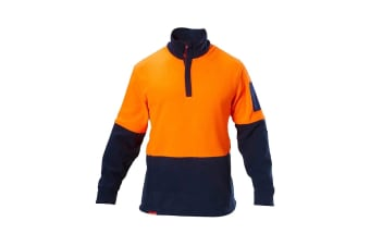Hard Yakka Hi Vis Two Tone Polar Fleece 1/4 Zip Jumper (Orange/Navy)