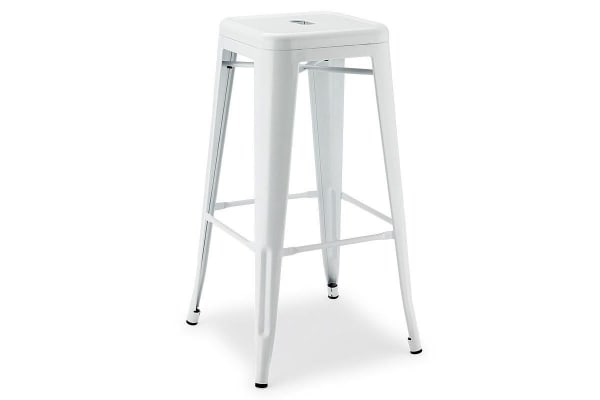 NEW! REPLICA 2x TOLIX BAR STOOL Chair Metal Steel Kitchen White 76cm Tall Dining