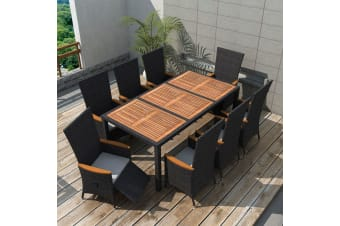 vidaXL 9 Piece Outdoor Dining Set Poly Rattan Acacia Wood Black