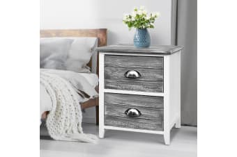 Artiss Bedside Tables Drawers Side Table Cabinet Nightstand Grey Vintage Unit x2