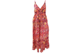 Womens/Ladies Spotty Pattern Print Strappy Crossover Maxi Summer Dress (Red/Orange)