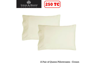 A Pair of 250tc Queen Pillowcases Cream by Logan and Mason