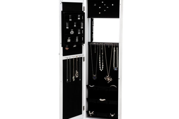Ovela Hanging Mirrored Full Length Jewellery & Accessories Cabinet (White)