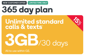 Kogan Mobile Prepaid Voucher Code: SMALL (365 Days | 3GB Per 30 Days)