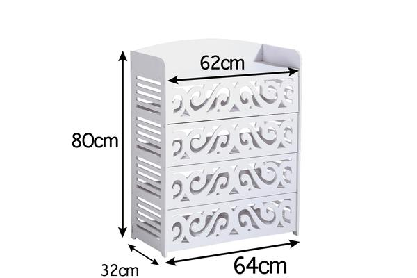 15 Pairs 5 Tier White Hollow Shoe Rack
