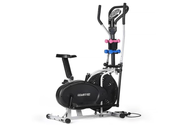 Elliptical cross trainer and exercise bike with weights and resistance bands
