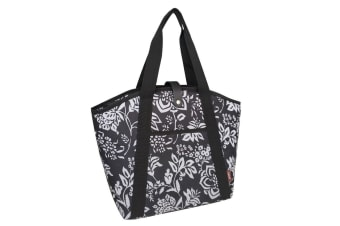 Sachi 48cm Insulated Thermal Cooler Shopping Lunch Bag Carry Picnic Camellia BLK