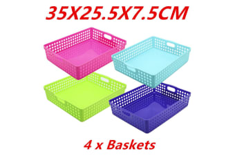 4 x Neon Color Plastic Storage Basket Bins Containers 35X25.5X7.5CM Home Office WMCV
