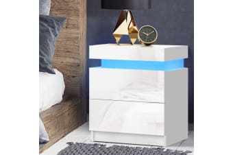 Artiss Bedside Tables Side Table Drawers RGB LED High Gloss Nightstand White
