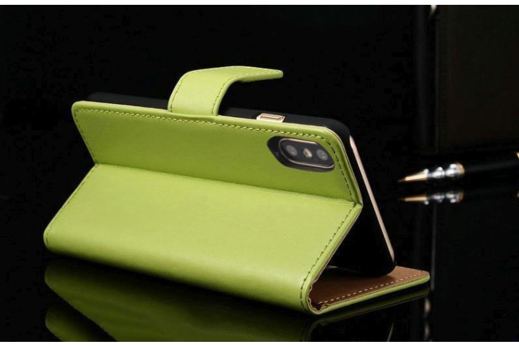 For iPhone XS X Wallet Case Elegant Slim Leather Cover Card Holder Green