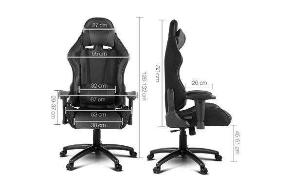 PU Leather & Mesh Reclining Gaming Executive Chair (Black)
