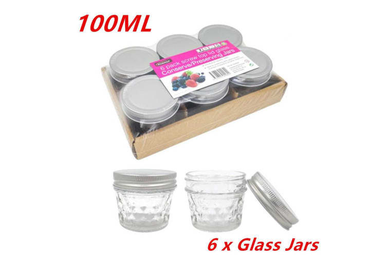 6 x SMALL 100ML QUILTED CONSERVE JAM CANDLE MAKING GLASS JARS JAR CANDY PARTY