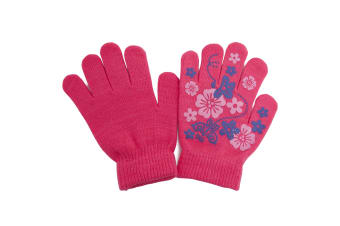 Girls Fun Winter Magic Gloves With Rubber Print (Pink) (Up to 12 years)