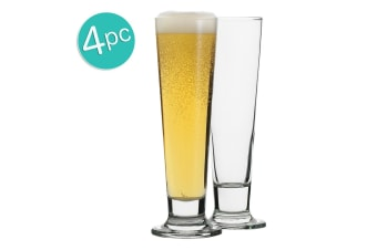 4pc Ecology Classic 420ml Clear Beer Glass Pilsner Glasses Glassware Barware Set