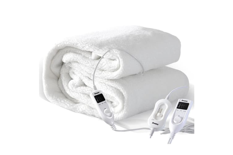 Dreamz Bedding Fleecy Electric Blanket Heated Warm Fully Fitted Washable S/D/Q/K  -  King in Type A - 2pcs