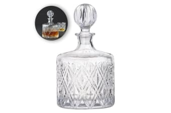 Fine Foods 1.2L Deluxe Round Glass Decanter Whiskey Rum Liquor Bourbon Clear