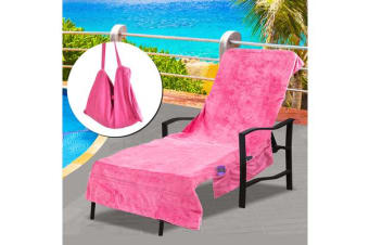 Pocket Bag Beach Towel Chair Cover PINK