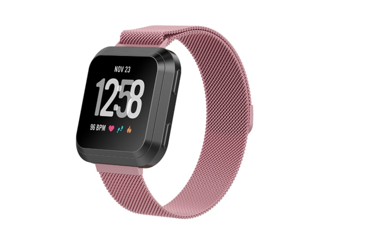 Milanese Loop Metal Replacement Bracelet Strap Wristbands For Fitbit Versa Fitness Smart Watch Pink Large Size