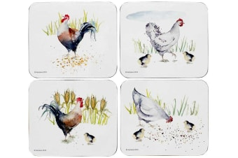Ashdene Country Chickens Coaster Set of 4 11x9.7cm