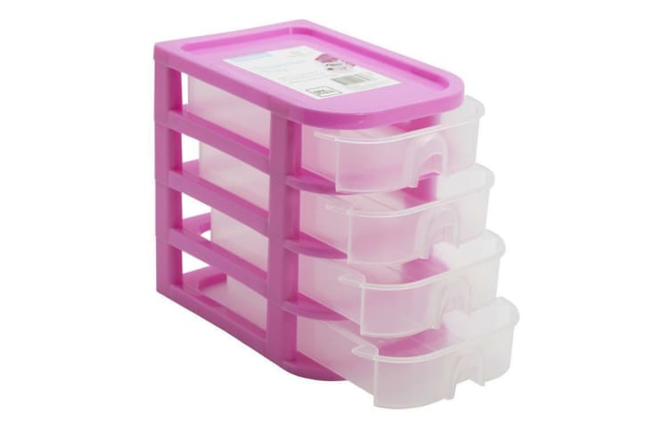 Pink 4 Drawer Plastic Small Desktop Storage Organiser Box Office Stationery 4 Tiers