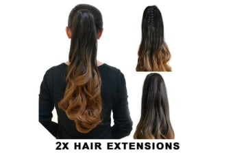"2Pcs Deluxe Ombre Darkbrown Ponytail Ribbon Clamp  Wavy 20"" Hair Extension 06 2X"